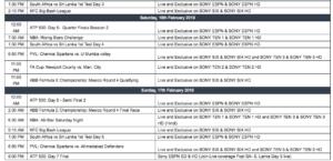 Sony Sports Weekly Listings   11th February - 17th February
