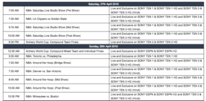 Sony Sports Weekly Listings | 27th April – 5th May 2019