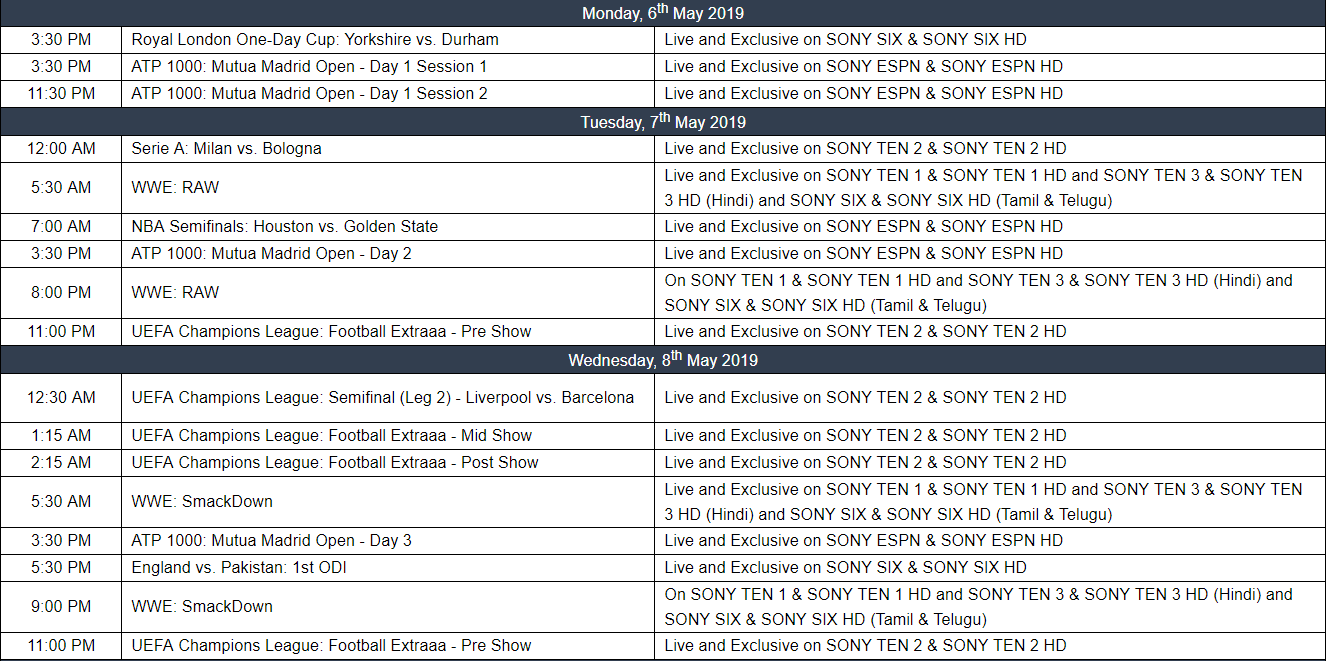 Sony Sports Weekly Listings | 6th May – 12th May 2019