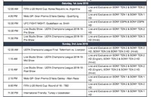 Sony Sports Weekly Listings   27th May - 2nd June 2019
